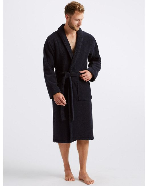 Marks   Spencer - Blue Super Soft Cotton Towelling Gown for Men - Lyst ... cff2a6b5f