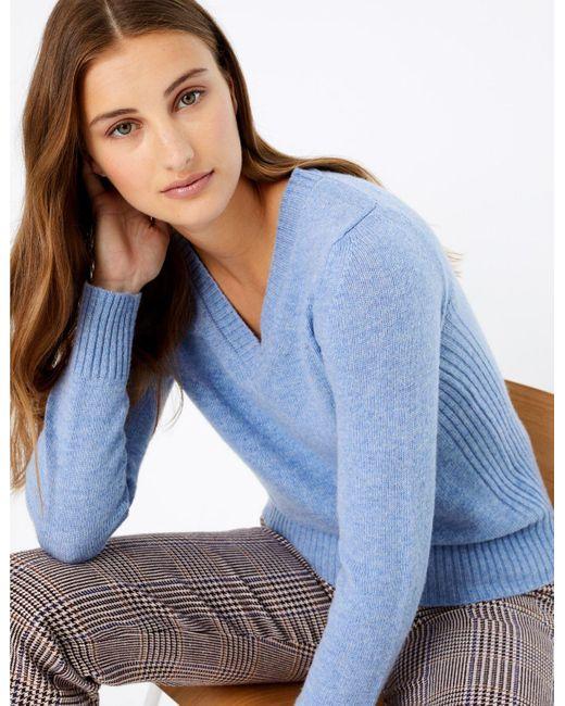 Marks & Spencer Wool Rich V-neck Jumper Medium Blue