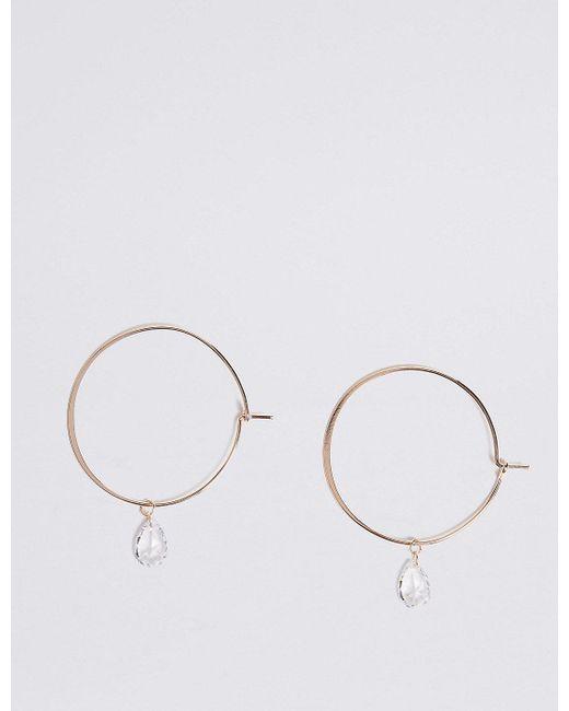 Marks Spencer Metallic Hanging Crystal Hoop Earrings Lyst