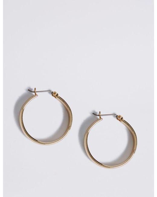 Marks & Spencer - Metallic Gold Plated Simple Hoop Earrings - Lyst