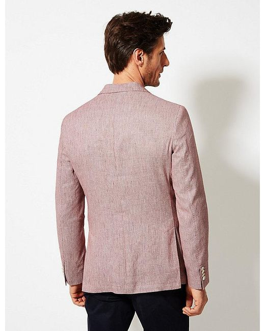 a61ae34eb62a9 ... Marks & Spencer - Multicolor Linen Rich Textured Tailored Fit Jacket  for Men ...