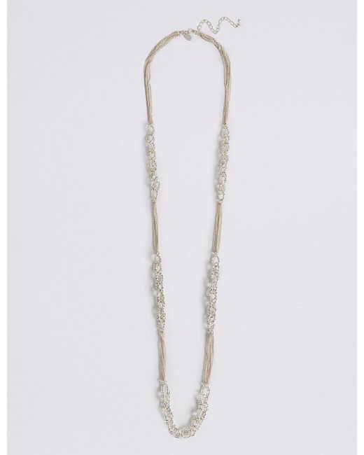 Marks & Spencer | Metallic Silver Plated Textured Link Necklace | Lyst