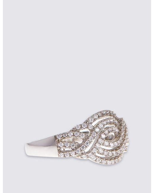 Marks & Spencer | Metallic Platinum Plated Vintage Swirl Diamanté Ring | Lyst