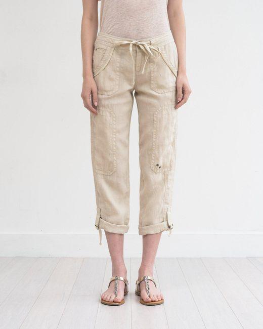 Marrakech - Natural Ali Roll-up Linen Utility Pant - Lyst