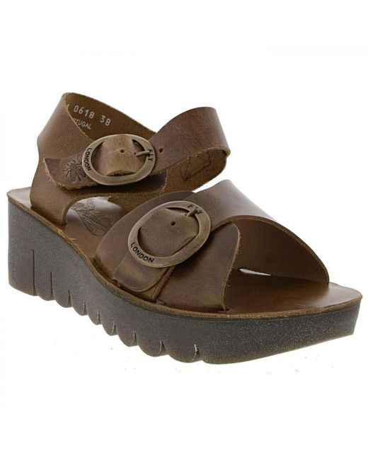25efa262a86e ... Fly London - Multicolor Yech Leather Chunky Wedge Sandals - Lyst ...
