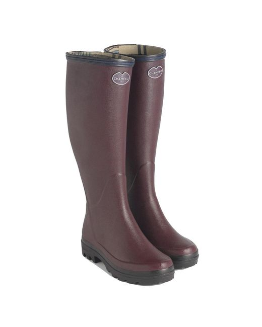 Le Chameau Brown Giverny Wellies Rain Boots - Cherry