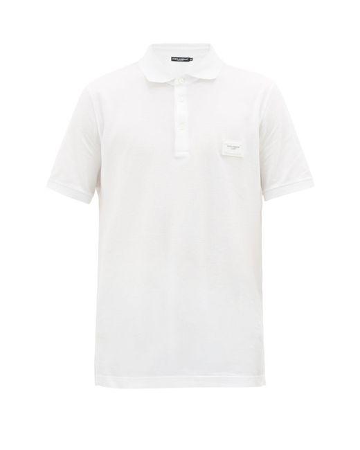 メンズ Dolce & Gabbana ロゴパッチ コットンピケ ポロシャツ White