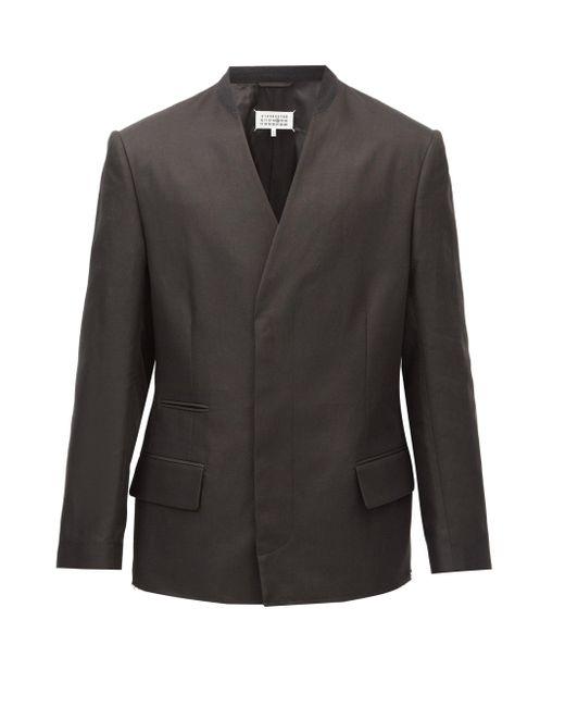 メンズ Maison Margiela ノーカラー コットンリネンダブルジャケット Black