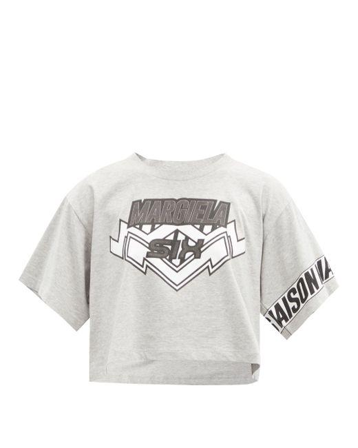 MM6 by Maison Martin Margiela ロゴプリント クロップド コットンtシャツ Multicolor