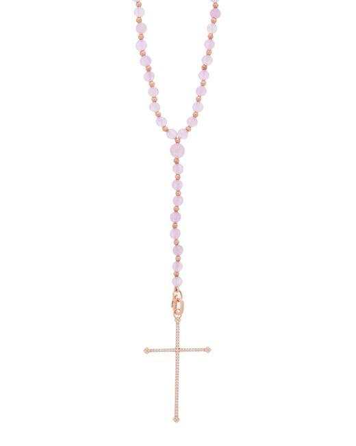 Diane Kordas クロス ダイヤモンド 18kローズゴールドネックレス White