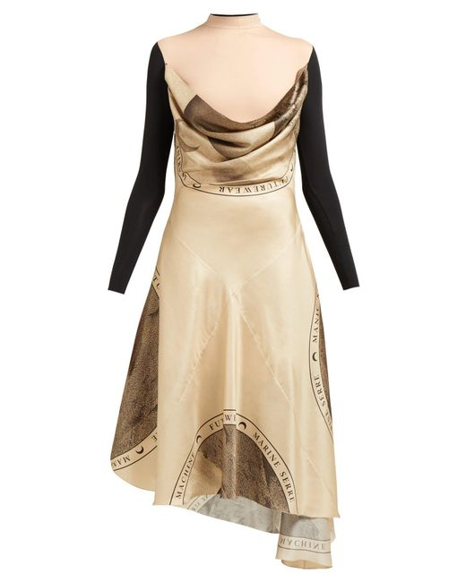 MARINE SERRE - Brown Layered Silk Blend Dress - Lyst