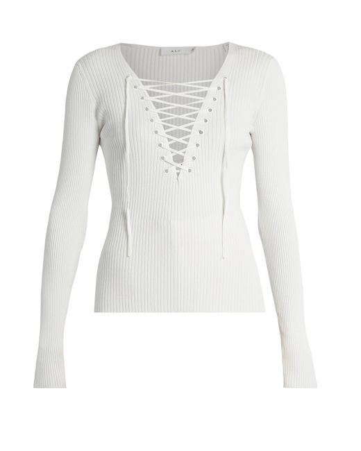 A.L.C. | White Solan-up Ribbed-knit Top | Lyst