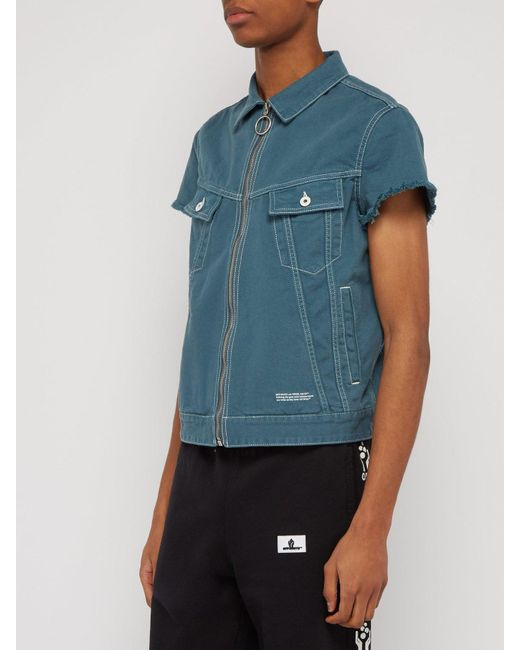 8b2000df27eee ... Off-White c/o Virgil Abloh - Blue Zip Front Short Sleeved Denim Jacket  ...