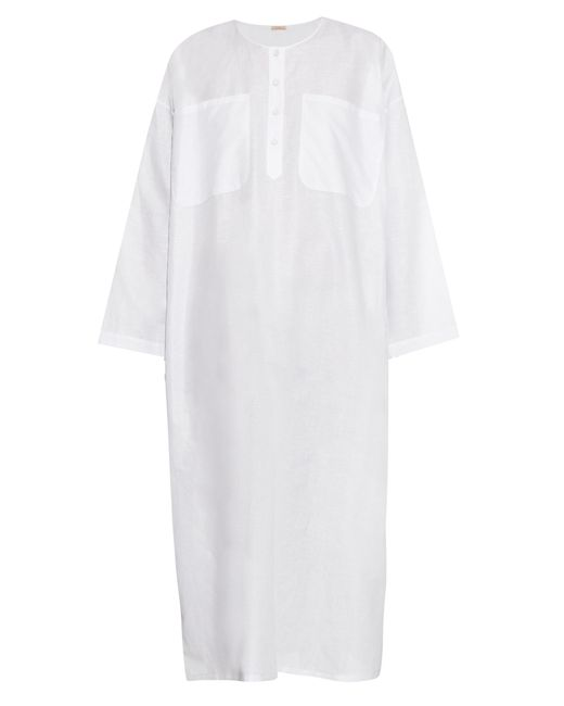 Adam Lippes | Blue Round-neck Cotton And Linen-blend Dress | Lyst