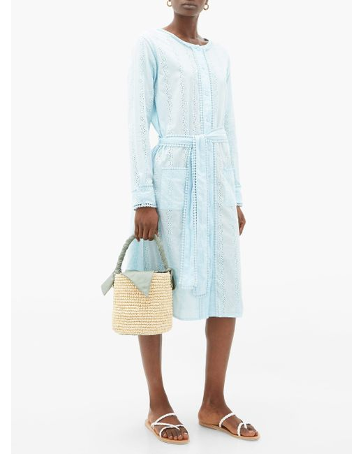 Melissa Odabash Patty コットンボイル シャツドレス Blue