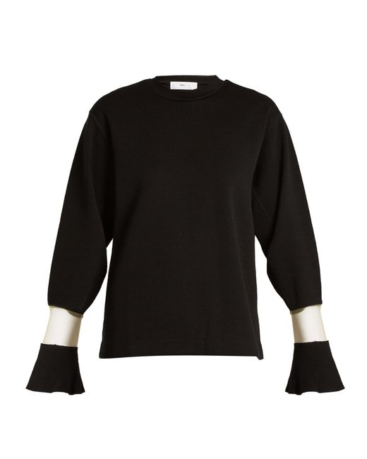 Toga | Black Flared-cuff Sheer-panel Wool Sweater | Lyst