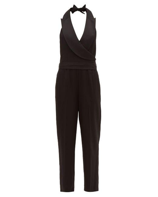 Diane von Furstenberg Habbana ピークドラペル クレープジャンプスーツ Black
