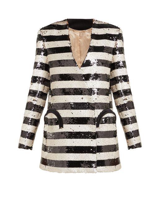 Blazé Milano Black Kelpie Striped Sequinned Double-breasted Blazer