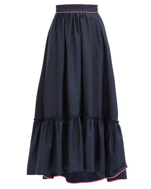 Roksanda マリアナ ラッフルヘム コットンポプリンスカート Blue