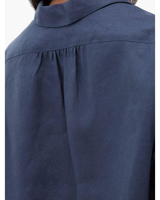 Rossell England リネンパジャマシャツ Blue