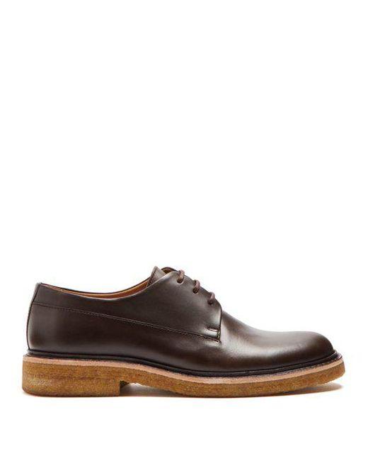 A.P.C. - Brown Vivien Leather Derby Shoes for Men - Lyst ...