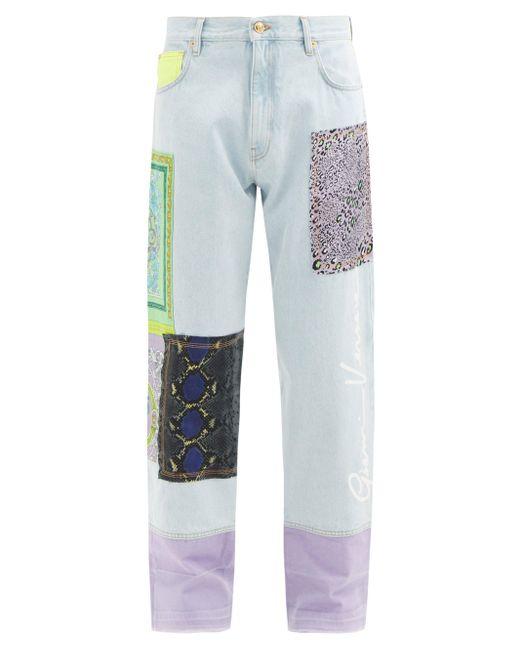 メンズ Versace パッチワーク ストレートジーンズ Blue