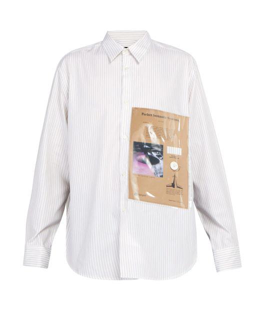 Raf Simons - White Pvc Panelled Striped Cotton Shirt for Men - Lyst