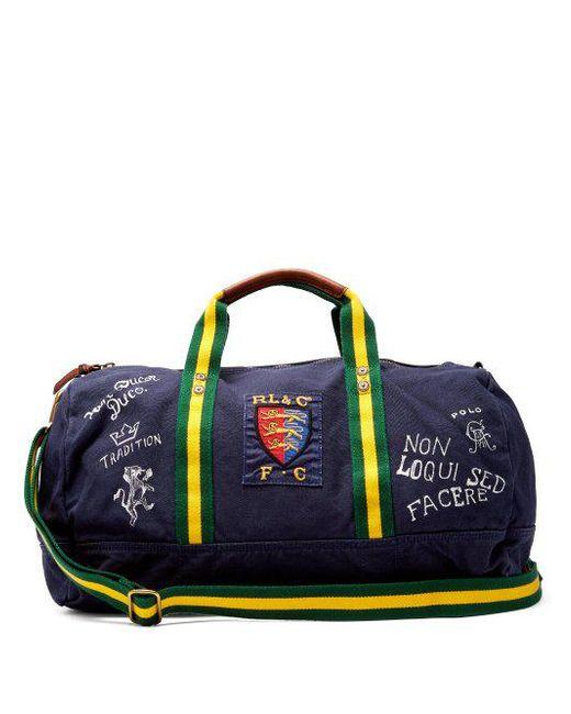 0498858531d Polo Ralph Lauren - Blue - Crest Cotton Canvas Weekend Bag - Mens - Navy  for ...