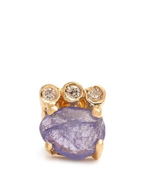 Jacquie Aiche | Blue Diamond, Tanzanite & Yellow-gold Earring | Lyst