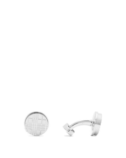Burberry Metallic Check Engraved Silver Tone Cufflinks for men