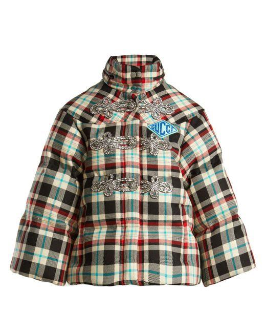 Gucci - Multicolor Embellished Tartan Wool Down Jacket - Lyst