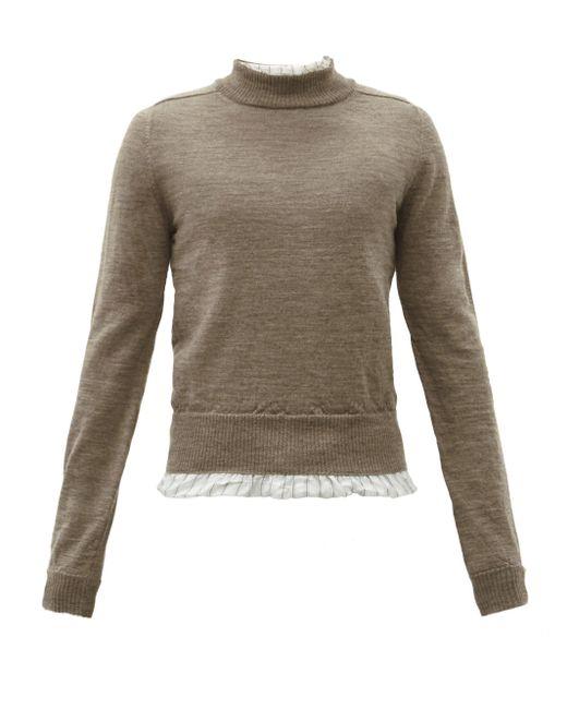 メンズ Maison Margiela ダメージ レイヤードウールセーター Multicolor