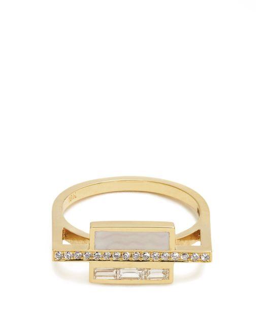 Azlee | Metallic White Light Diamond, Enamel & Yellow-gold Ring | Lyst