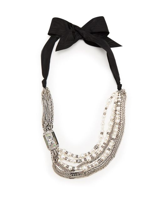 Lanvin | White Bow And Faux-pearl Embellished Necklace | Lyst