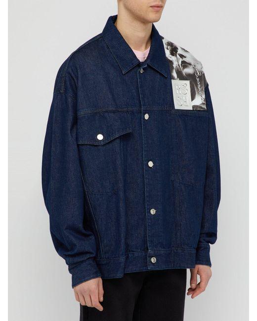 8ce008f05b6 ... Raf Simons - Blue Punkette Oversized Denim Jacket for Men - Lyst ...