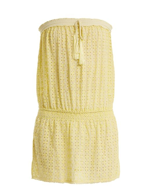 Melissa Odabash - Yellow Adela Strapless Broderie Anglaise Dress - Lyst