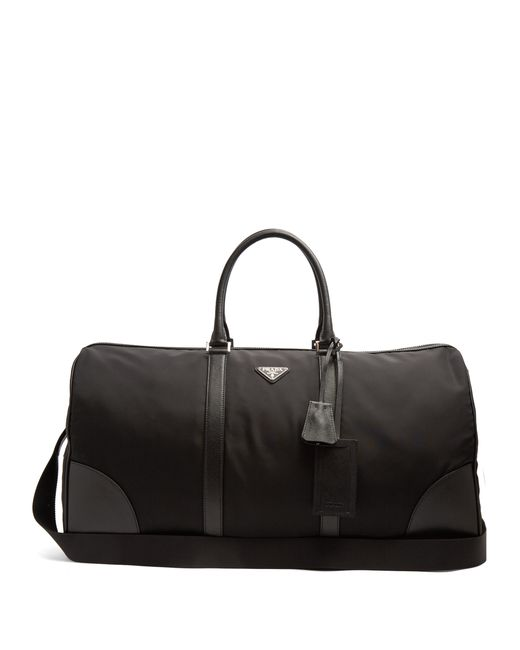 Prada - Black Saffiano Leather Trimmed Nylon Holdall for Men - Lyst