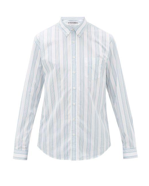メンズ Schnayderman's ストライプ コットンポプリンシャツ Multicolor