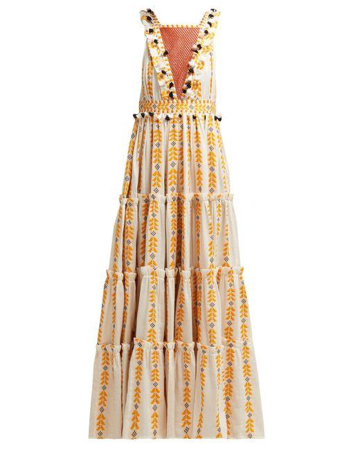 Dodo Bar Or Yellow Alicia Embroidered Cotton Maxi Dress
