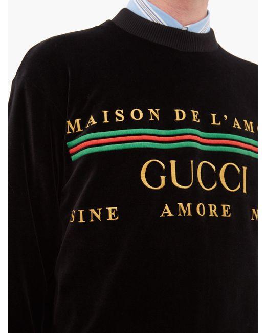 メンズ Gucci ロゴ コットンブレンド スウェットシャツ Black