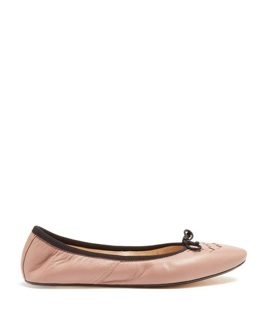 Bottega Veneta | Pink Intrecciato Leather Ballet Flats | Lyst
