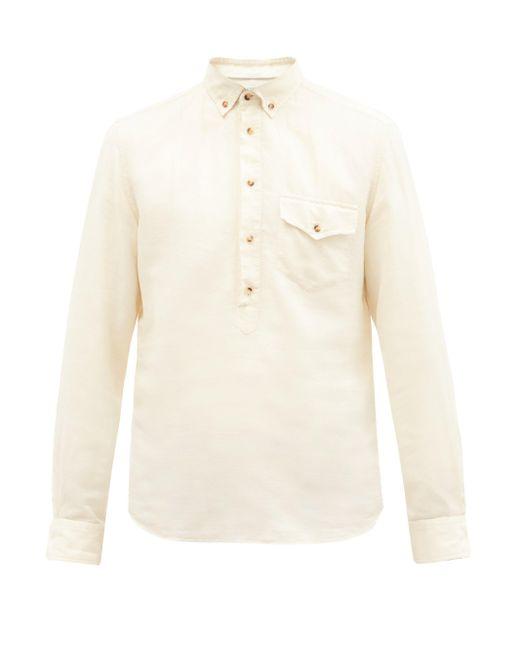メンズ Brunello Cucinelli ボタンダウンカラー リネンコットンヘンリーシャツ Natural