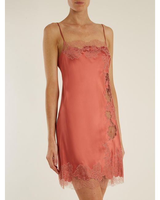 Carine Gilson Lace-trimmed Silk-satin Slip In Pink