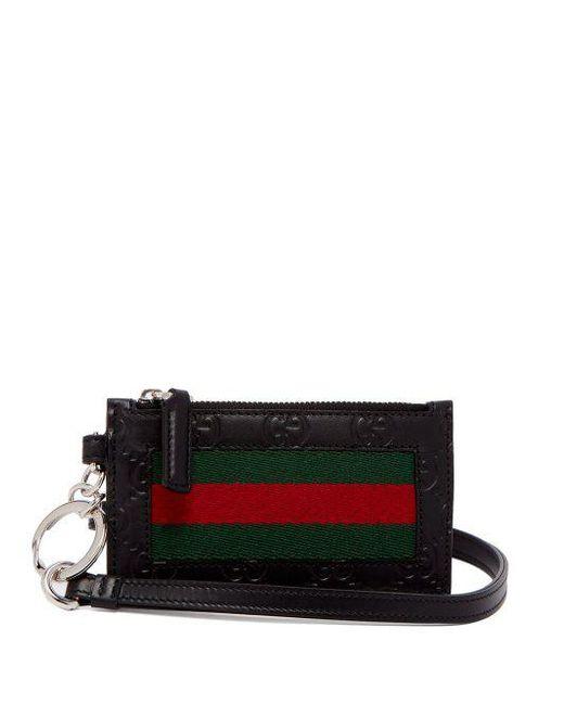 Gucci - Black Web-striped Leather Cardholder for Men - Lyst