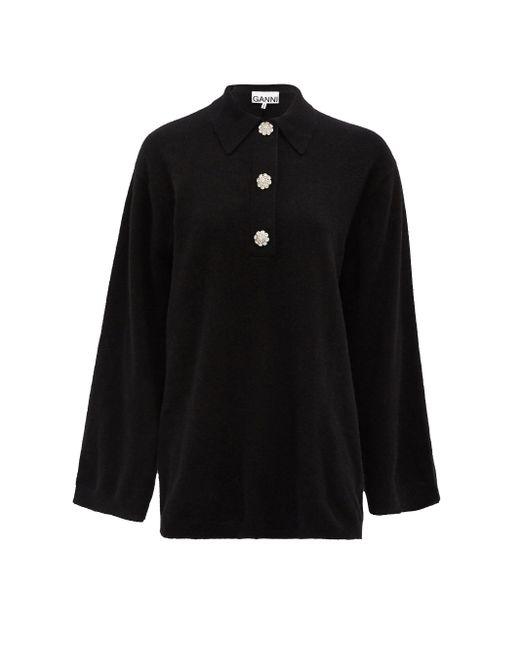 Ganni クリスタルボタン セーター Black