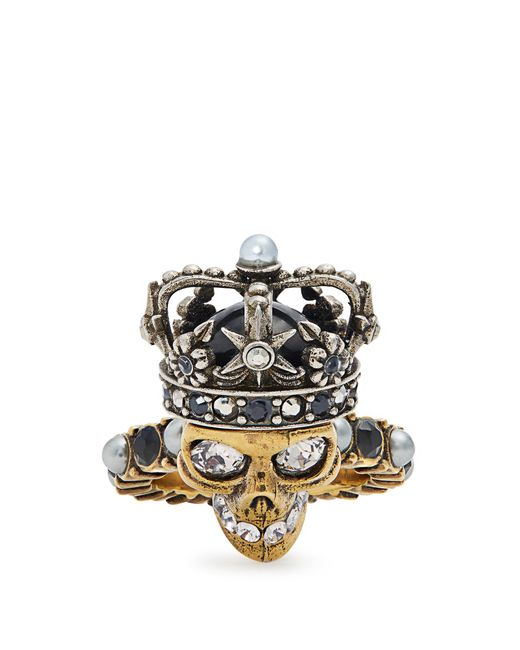 Alexander McQueen | Metallic King Skull Crystal And Pearl-embellished Ring | Lyst