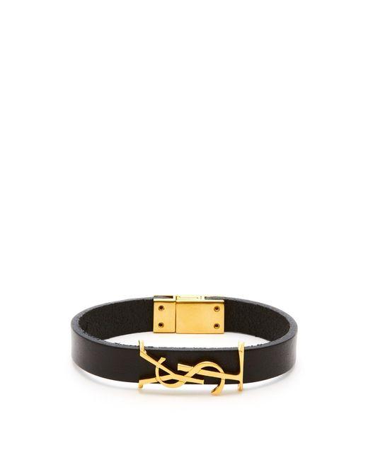 Saint Laurent - Black Ysl Monogram Plaque Leather Bracelet for Men - Lyst