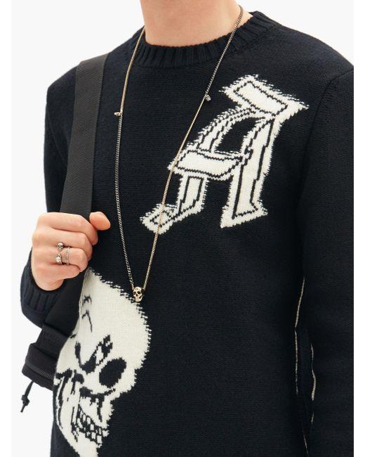 メンズ Alexander McQueen スカルチャーム ツートーンネックレス Metallic