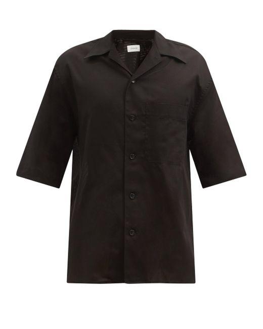 メンズ Lemaire ショートスリーブ コットンボイル シャツ Black