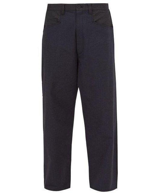 7202cc31a990c Y-3 - Blue Logo-print Cotton-blend Trousers for Men - Lyst ...